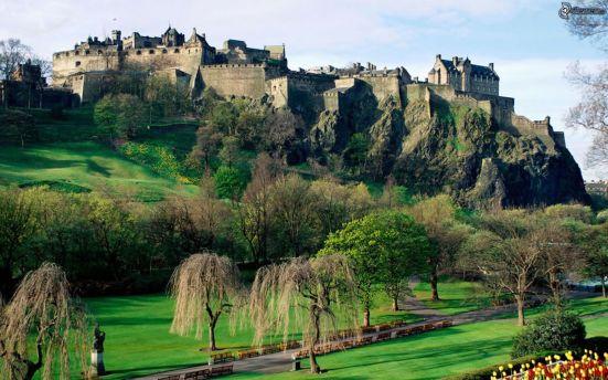 edinburgh castle, garden, park, trees, castle, rock 126242